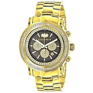 Luxurman Men's Escalade Yellow Gold-plated 2.5ct Diamond Bezel Watch with Metal Band and Extra Leath