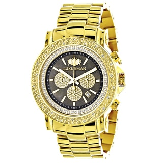 Luxurman Men's Yellow Gold-plated 1/4ct White Diamond Black Mother of Pearl Watch with Metal Band an