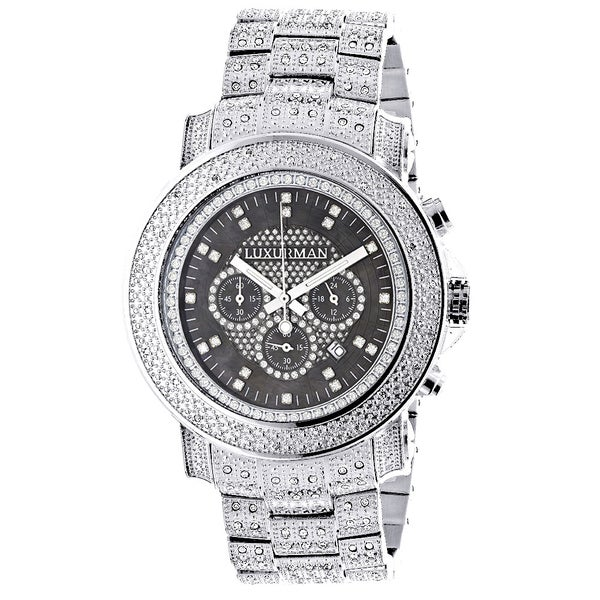 f03d40bf22d Luxurman Men  x27 s Oversized Iced Out Escalade 2ct Diamond Watch with  Metal Band