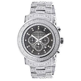 Luxurman Men's Oversized Iced Out Escalade 2ct Diamond Watch with Metal Band and Extra Leather Strap|https://ak1.ostkcdn.com/images/products/9507562/P16686987.jpg?impolicy=medium