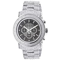 Luxurman Men's Oversized Iced Out Escalade 2ct Diamond Watch with Metal Band and Extra Leather Strap