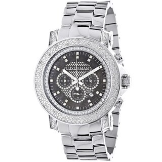 Luxurman Black Mother of Pearl Escalade Luxury 3/4ct White Diamond Chronograph Watch with Metal Band