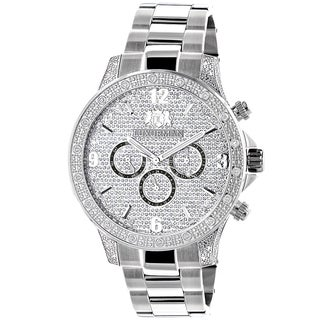 Luxurman Men's Celebrity Diamond Liberty 0.5ct Diamond Accent Watch with Metal Band and Extra Leathe