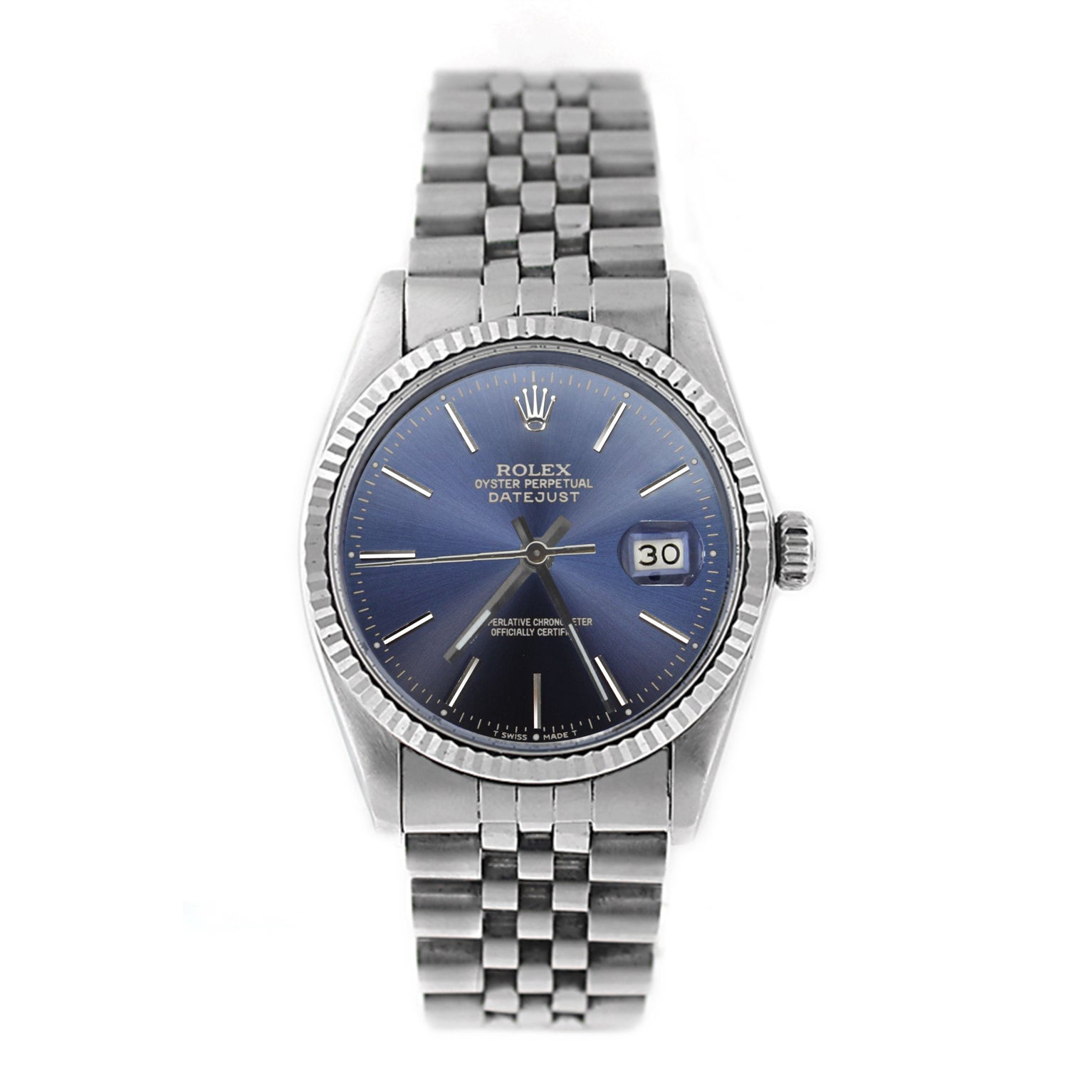 Pre,Owned Rolex Men\u0027s Datejust 16014 Stainless Steel Blue Stick Watch