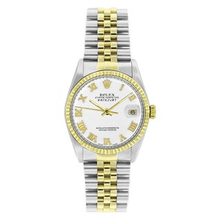 Pre-owned Rolex Men's Datejust 16013 Two-tone White Roman Watch