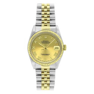 Pre-owned Rolex Men's Datejust 16013 Two-tone Champagne Roman Watch