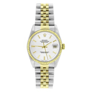 Pre-Owned Rolex Men's Datejust 16013 Two-tone White Stick Watch