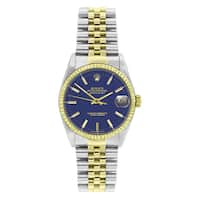 Pre-Owned Rolex 16013 Men's Perpetual Datejust Two-tone Blue Dial Watch