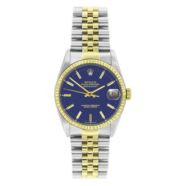 09a690659f3 Shop Pre-Owned Rolex 16013 Men's Perpetual Datejust Two-tone Blue ...