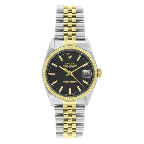 Pre-owned Rolex Men's Datejust 16013 Two-tone Black Stick Watch