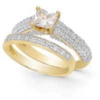 Dolce Giavonna Gold Over Sterling Silver Cubic Zirconia Bridal Ring Set