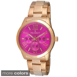Peugeot Women's Pink Color Dial Multi-functional Stainless Steel Watch