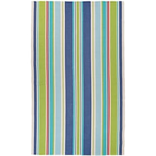 Shop Maine Stay Striped Lime Blue Area Rug 3 X 5