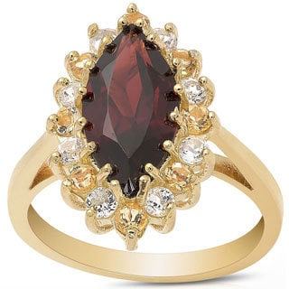 Dolce Giavonna Gold Over Sterling Silver Multi-gemstone Marquise Design Ring