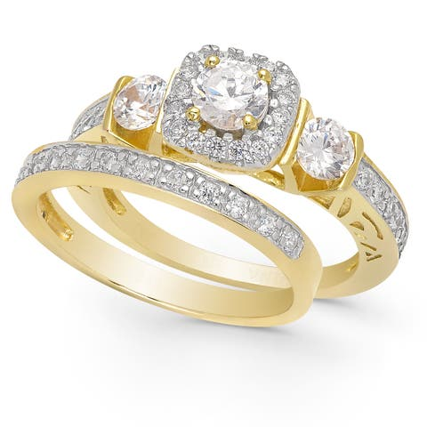 Dolce Giavonna Gold Over Sterling Silver Cubic Zirconia Bridal Set