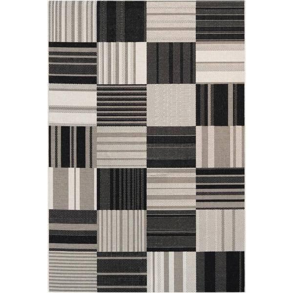 Hampton Pastiche Black-Cream Indoor/Outdoor Area Rug - 7'10 x 10'9