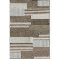 Samantha Graphic Stripe/ Sand Indoor/Outdoor Rug - 7'6 x 10'9