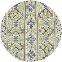 Covington Pegasus Ivory-Navy-Lime Round Indoor/Outdoor Rug - 7'10 x 7'10