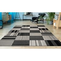 Hampton Pastiche Black-Cream Indoor/Outdoor Area Rug - 3'11 x 5'7
