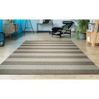 """Hampton Striped Beige-Cream Indoor/Outdoor Area Rug - 3'11"""" x 5'7"""""""
