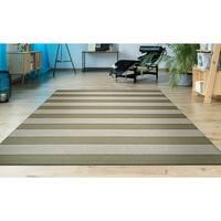 Hampton Striped Khaki-Cream Indoor/Outdoor Area Rug - 3'11 x 5'7