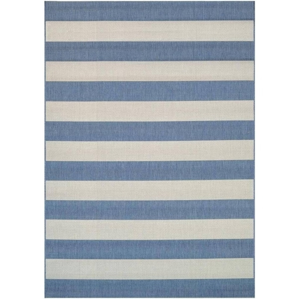 Shop Hampton Striped Blue Cream Indoor Outdoor Area Rug