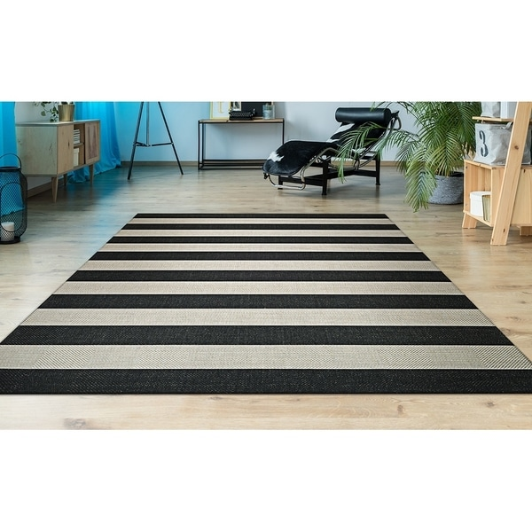 Shop Hampton Striped Black Cream Indoor Outdoor Area Rug