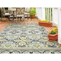 Couristan Covington Pegasus Ivory- Navy- Lime Indoor/Outdoor Rug - 3'6 x 5'6