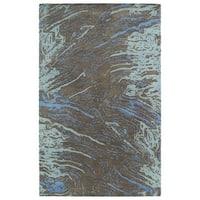 Hand-tufted Artworks Chocolate Waves Rug (9'6 x 13')