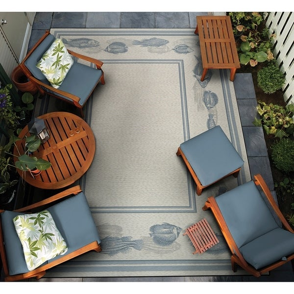 "Gelato Cilus Ivory-Blue Indoor/Outdoor Area Rug - 4' x 5'10"""