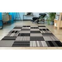 Hampton Pastiche Black-Cream Indoor/Outdoor Area Rug - 5'3 x 7'6