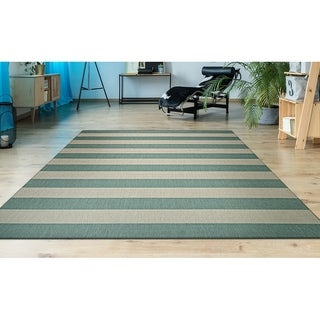 "Hampton Striped Green-Cream Indoor/Outdoor Area Rug - 5'3"" x 7'6"""