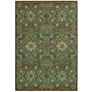 Couristan Alameda 5908/ 0915 Dahlia Brown/ Teal Rug (5'3 x 7'6)