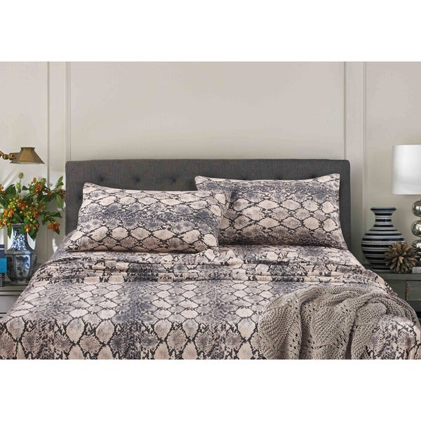 Charmant Kenya Snake Printed Egyptian Cotton Deep Pocket Printed Sheet Set