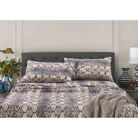 Kenya Snake Printed Egyptian Cotton Deep Pocket Printed Sheet Set