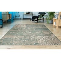 "Hampton Dune/ Soft Green- Ivory Indoor/Outdoor Area Rug - 7'10"" x 10'9"""