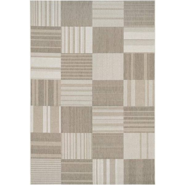 Hampton Pastiche Beige-Cream Indoor/Outdoor Area Rug - 7'10 x 10'9