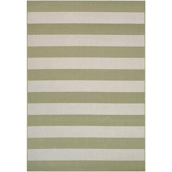 Hampton Striped Khaki-Cream Indoor/Outdoor Area Rug - 7'10 x 10'9