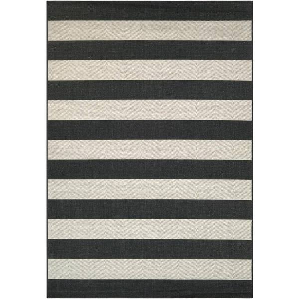 Hampton Striped Black-Cream Indoor/Outdoor Area Rug - 7'10 x 10'9