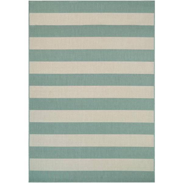 Hampton Striped Green-Cream Indoor/Outdoor Area Rug - 7'10 x 10'9