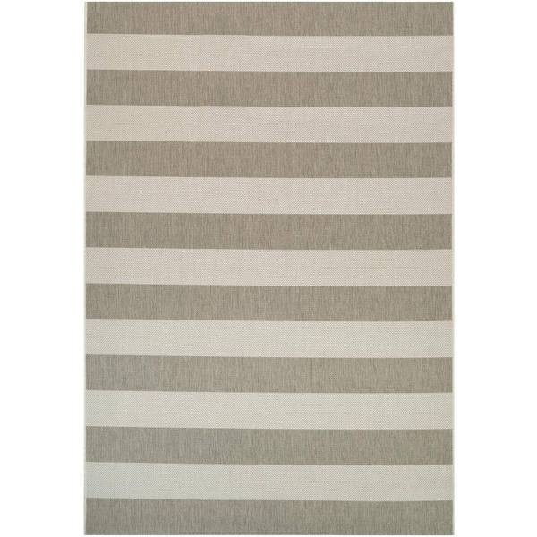 Hampton Striped Beige-Cream Indoor/Outdoor Area Rug - 7'10 x 10'9