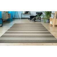 Hampton Striped Beige-Cream Indoor/Outdoor Area Rug - 7'10 x 10'9
