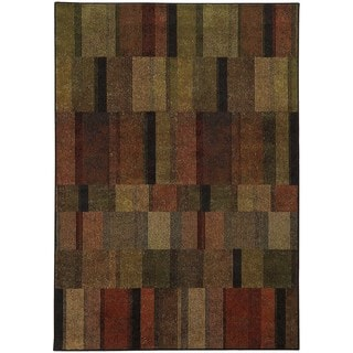 Geometric Brown/ Green Rug (7'10 x 10'10)