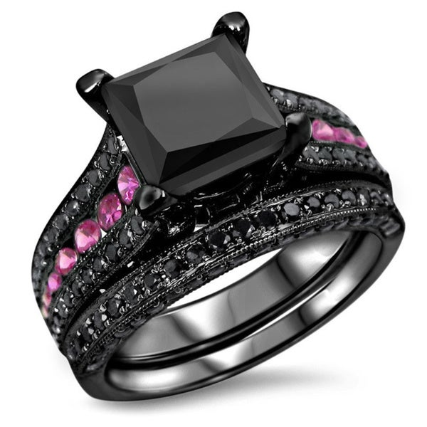 14k Black Rhodium Gold 3 4/5ctw Black Diamond Pink Sapphire Bridal Set. Opens flyout.