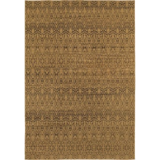 Geometric Ikat Tan/ Black Rug (7'10 x 10'10)