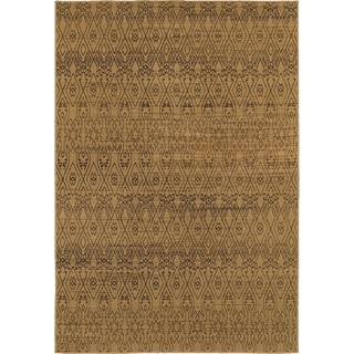 Geometric Ikat Tan Black Rug 7 10 X
