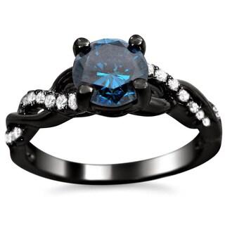 Noori 14kBlack Rhodium-plated Gold 1ct TDW Certified Blue Round Diamond Infinity Ring