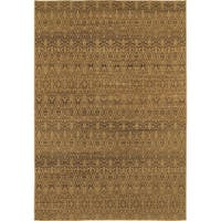 Geometric Ikat Tan/ Black Rug (9'10 x 12'10)