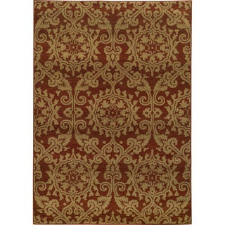 Floral Rust/ Taupe Rug (9'10 x 12'10)
