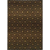 "Tribal Lattice Black/ Brown Rug (9'10 x 12'10) - 9'10"" x 12'10"""